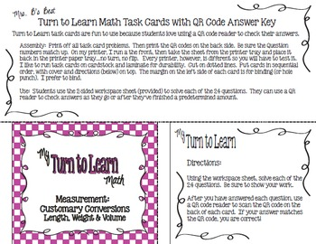 My Turn to Learn QR Code Task Cards - Measurement: Customary Conversions
