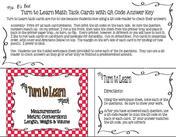 My Turn to Learn QR Code Task Cards - Measurement: Metric Conversions