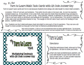 My Turn to Learn QR Code Task Cards: Multiplying Decimals