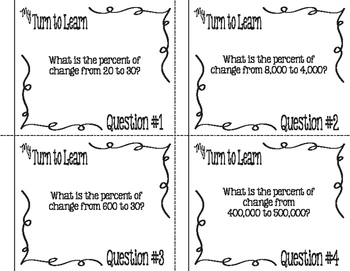 My Turn to Learn QR Code Task Cards: Percent of Change