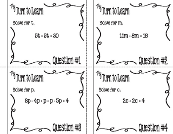 My Turn to Learn QR Code Task Cards: Solve Equations with Like Terms