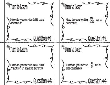 My Turn to Learn QR Code Task Cards: Convert Percents, Fractions & Decimals