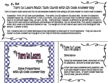 My Turn to Learn QR Code Task Cards: Solve Proportions