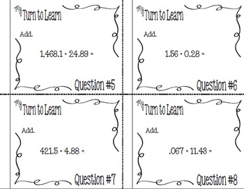 My Turn to Learn Task Cards: Adding Decimal Numbers with QR Codes