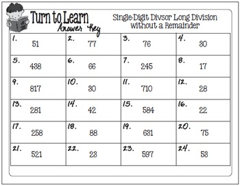 My Turn to Learn Task Cards: Single-Digit Long Division without Remainders