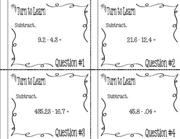My Turn to Learn Task Cards: Subtracting Decimal Numbers with QR Codes