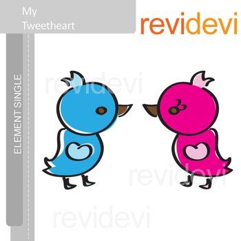 My Tweetheart Clip Art / Blue and pink birds clipart / E016