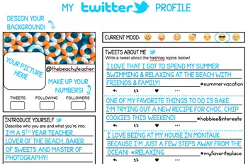 My Twitter Profile Back to School Activity