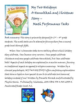 My Two Holidays: A Hanukkah & Christmas Story - Math / Writing Performance Tasks