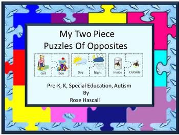 Opposites Puzzles, Kindergarten, Special Education Math, Matching