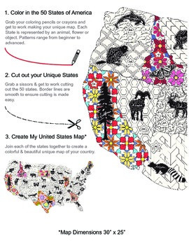 My United States. Black & White Coloring Book & Map Creator.