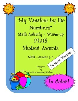 My Vacation By the Numbers Warm-up-Summer-Plus Student Awards