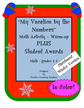 My Vacation By the Numbers Warm-up-Winter-Plus Student Awards