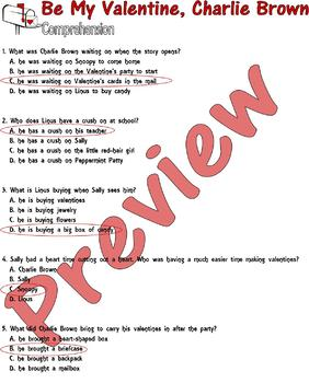 My Valentine, Charlie Brown : Reading Comprehension Questions : LINED PAPER