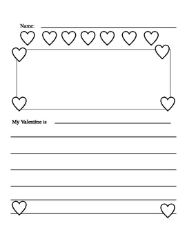 My Valentine Writing Sheet