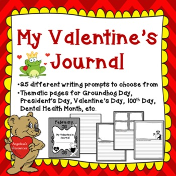 Valentine's Day: February Journal (25 Different Writing Prompts)