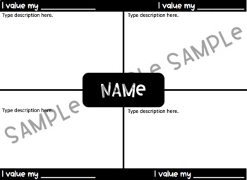 My Values - Frayer Model Writing Activity