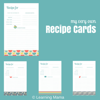 My Very Own Recipe Cards