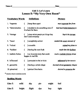 """""""My Very Own Room"""" Vocabulary List and Test for Treasures"""