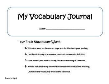 My Vocabulary Journal