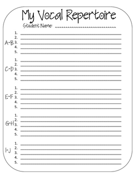 """""""My Vocal Repertoire"""" Alphabetized Song Index for Voice Students"""