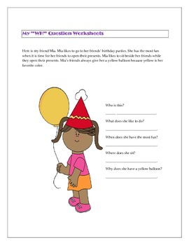 """My """"WH"""" Question Worksheets"""