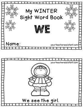 My WINTER Sight Words Book: WE