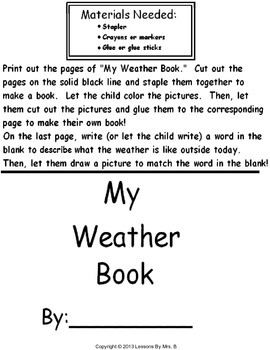 My Weather Book (For Early Readers)