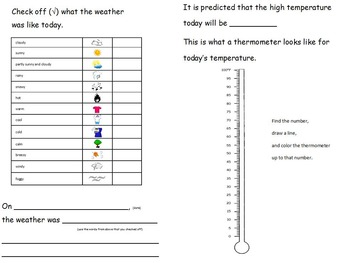Temperature - My Weather and Temperature Book - IMPERIAL Measurement - 6 pages