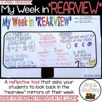 """FREE Reflection Activity: My Week in """"Rearview"""""""