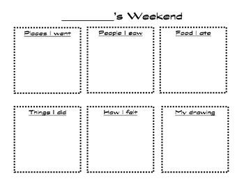 My Weekend-Work on Writing/Writing Center Printable