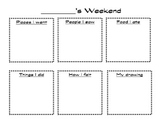 My Weekend-Work on Writing/Writing Center Printable