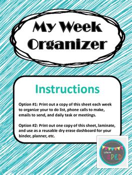 My Week Organizer FREEBIE