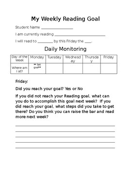My Weekly Reading Goal