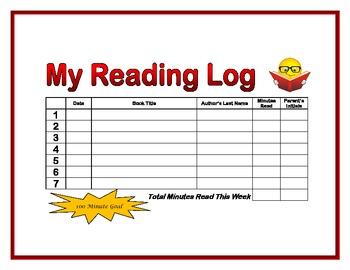 My Weekly Reading Log