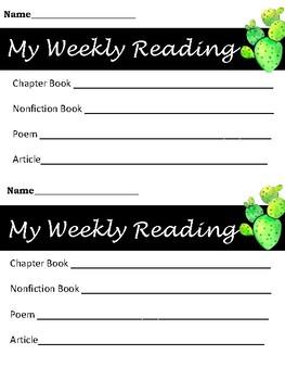 My Weekly Reading Progress, Reading Log, Goal Setting Cactus Design