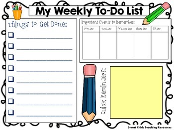 My Weekly To Do List Mat (Different Themes Included) ~ FREEBIE