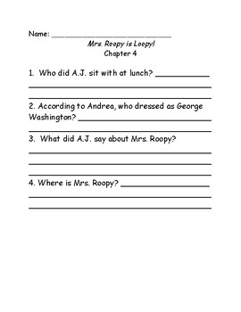 My Weird School #3: Mrs. Roopy is Loopy comprehension questions