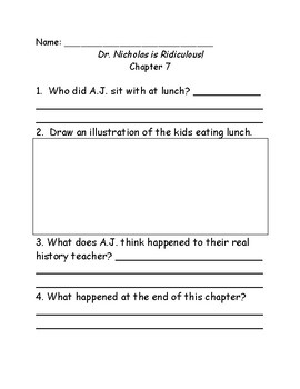 My Weirder School #8: Dr. Nicholas is Ridiculous comprehension questions