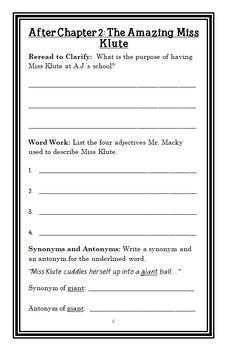 My Weirder School: Miss Klute Is a Hoot! (Gutman) Novel Study / Comprehension
