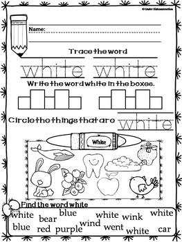 Color Books;White; Includes Worksheets,Cut/Paste Activity, Color Sort Center