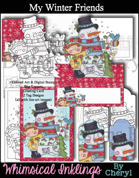 My Winter Friends Clipart and Color me Printables