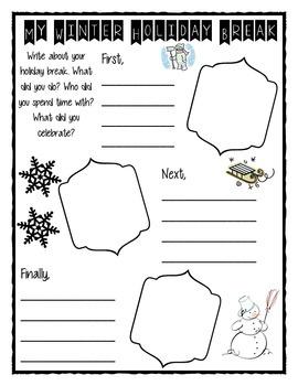 My Winter Holiday Break Writing Activity