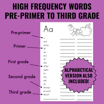 Personal Student Dictionary with Dolch & Fry Word Lists Plus Extras