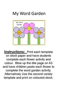 My Word Garden - nouns, verbs and adjectives