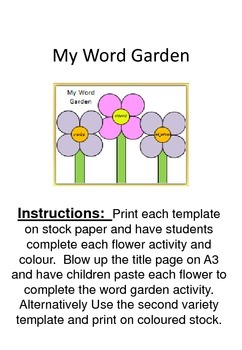 My Word Garden - nouns, verbs and adjectives