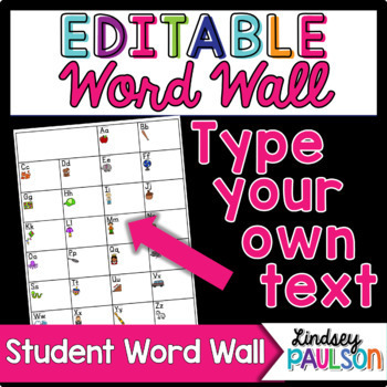 Editable Student Word Wall