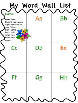 My Word Wall List - Flowers