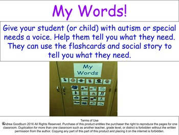 My Words, Autism, Special Needs, Social Stories, Communication Flaschards