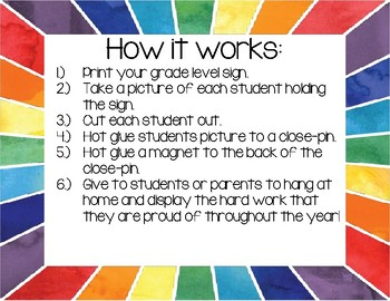 My Work Picture Magnet Sign (Open House / Curriculum Night Parent Gift)